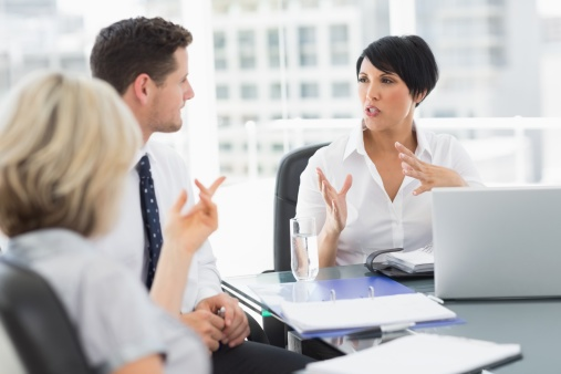 business owners discussing business bankruptcy