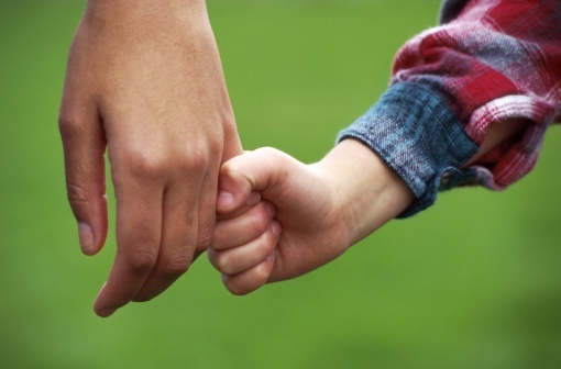 A child's hand holding their parent's hand.