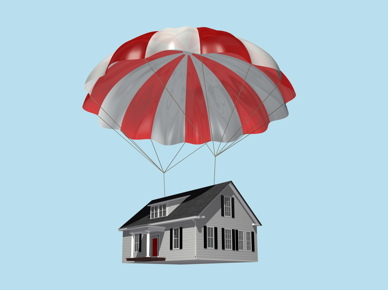 A house with a parachute.